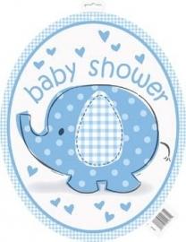 Geboorte versiering babyshower cut out olifantje blauw