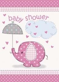 Geboorte versiering babyshower uitnodigingen olifantje roze 8 stuks