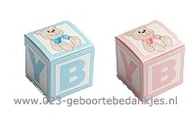 Geboortebedankjes baby blokje met beer roze of blauw