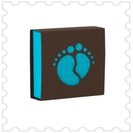 Schuifdoosje bruin met blauwe voetjes
