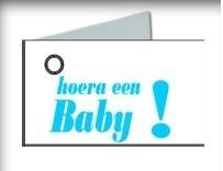 Kaartje Hoera een baby! blauw/roze