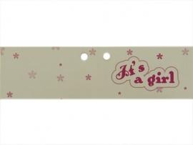 Minikaartje dubbel roze It`s a girl
