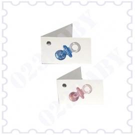 Minikaartje dubbel roze/blauw met speen