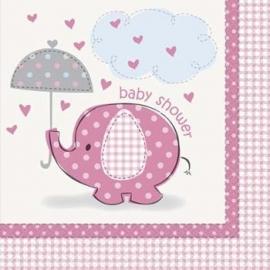 Geboorte versiering babyshower servetten olifantje roze 16 stuks