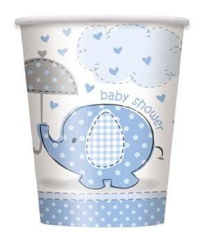 Geboorte versiering babyshower bekers olifantje blauw 8 stuks