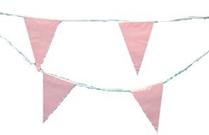 Geboorte versieringen vlaggenlijn roze 6 meter