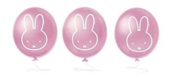 Geboorte versiering Nijntje balonnen roze 6 stuks