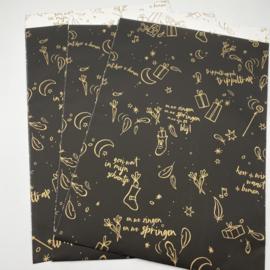Sint a long cadeauzakje 17 x 25cm zwart (per 5)