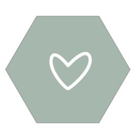 Muurcirkel Haxagon hart mint