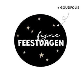 Sticker Fijne feestdagen - zwart