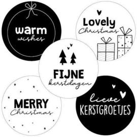 Sticker Assorti Fijne kerstdagen
