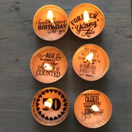 Waxinelichtjes met een boodschap.....Fifty years!