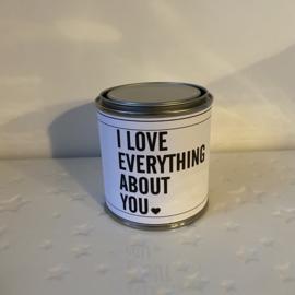 Blikje waxinelichtjes boodschap - I love everything