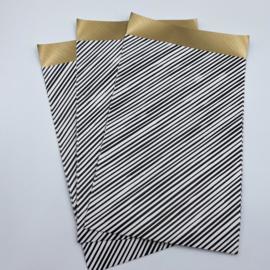 Stripes cadeauzakje 12 x 19 cm wit (per 5)