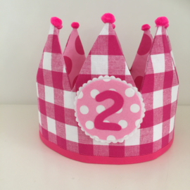 Verjaardagskroon roze/fuchsia - dubbelzijdig