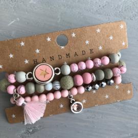 Set roze/grijs/grijsgroen