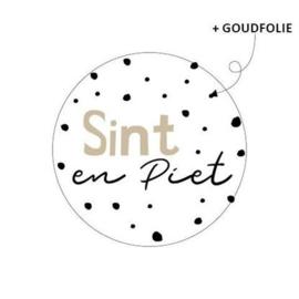 Sticker Sint en Piet - wit