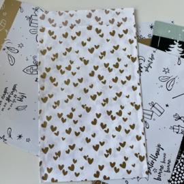 Solo Hearts cadeauzakje 12 x 19 cm goud (per 5)
