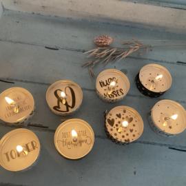 Waxinelichtjes boodschap  Topper, 8 stuks
