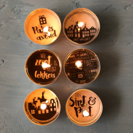 Blikje waxinelichtjes boodschap 'Sint'