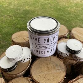 Blikje Waxinelichtjes boodschap 'Kerst'