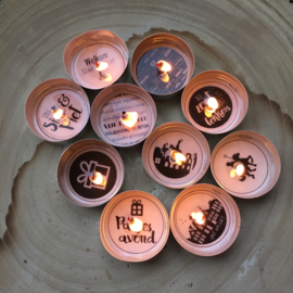 Waxinelichtjes boodschap 'Sinterklaas', 8 stuks