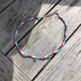 Ketting blauw-roze-wit sterretjes