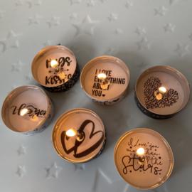 Blikje waxinelichtjes boodschap - Love more than stars