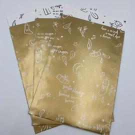Sint a long cadeauzakje 12 x 19 cm goud (per 5)