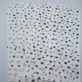 Black heart cadeauzakje 17 x 25 cm wit (per 5)