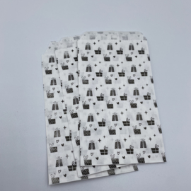 Presents cadeauzakje 7 x 13 cm zwart  (per 5)
