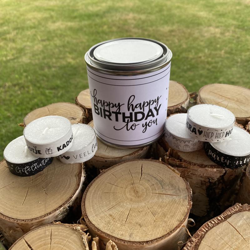 Blikje waxinelichtjes boodschap Birthday