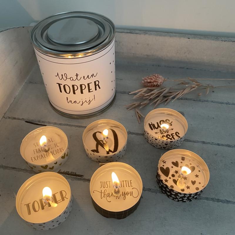 Blikje waxinelichtjes boodschap  Topper