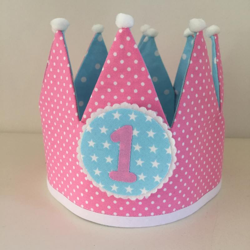 Verjaardagskroon Roze/blauw - dubbelzijdig