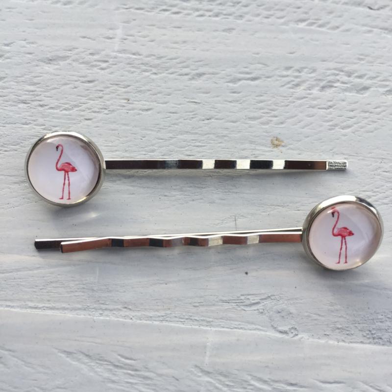 Haarspeldjes, 2 stuks, Flamingo