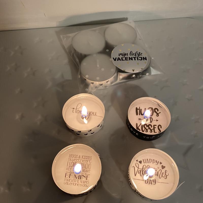Waxinelichtjes boodschap Valentijn, 4 stuks