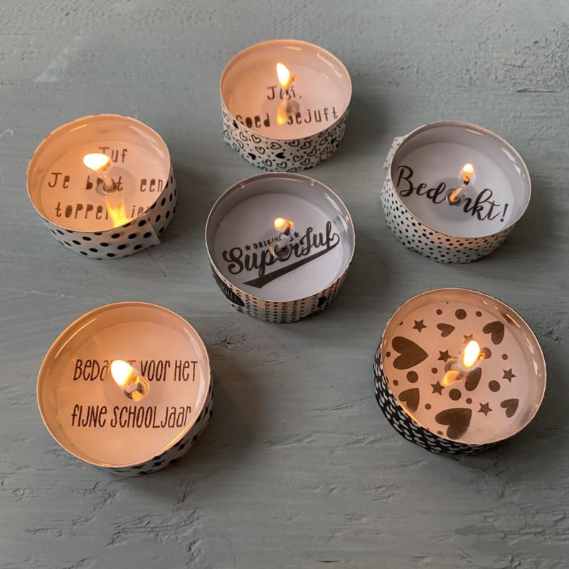 Waxinelichtjes met een boodschap.....