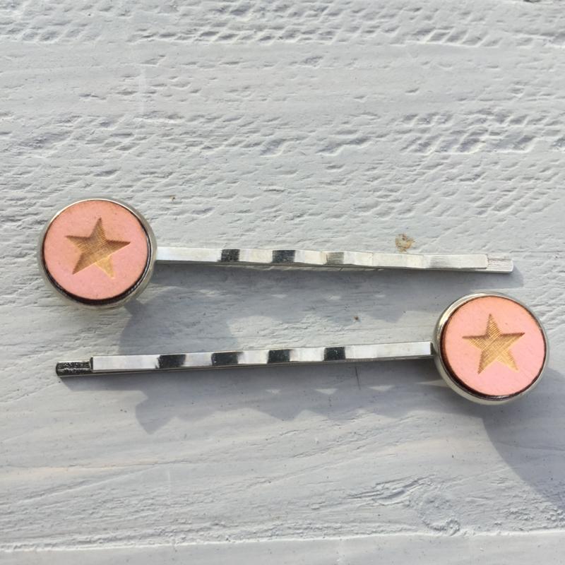 Haarspeldjes, 2 stuks, Star Pink
