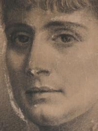 Heel oud schilderij met portret in houtskool