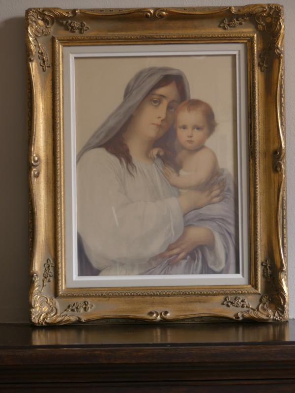 Brocante schilderij met prent van Jeanne d'Arc Living