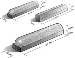 Oprit stootband beton 20x20x100 cm 1x afgerond
