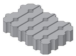 Koepad blokken 41x61x12 grijs