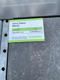 Kera Twice 60x60x5 black tegel