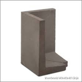 L-hoekelement 60x40x40 cm grijs buitenzijde 45 graden set L+R