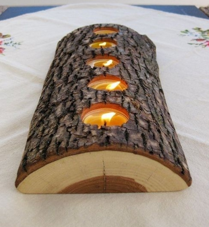 Waxinelichtje houder hout