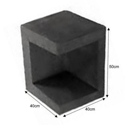 U Hoek Element 40x40x50 zwart