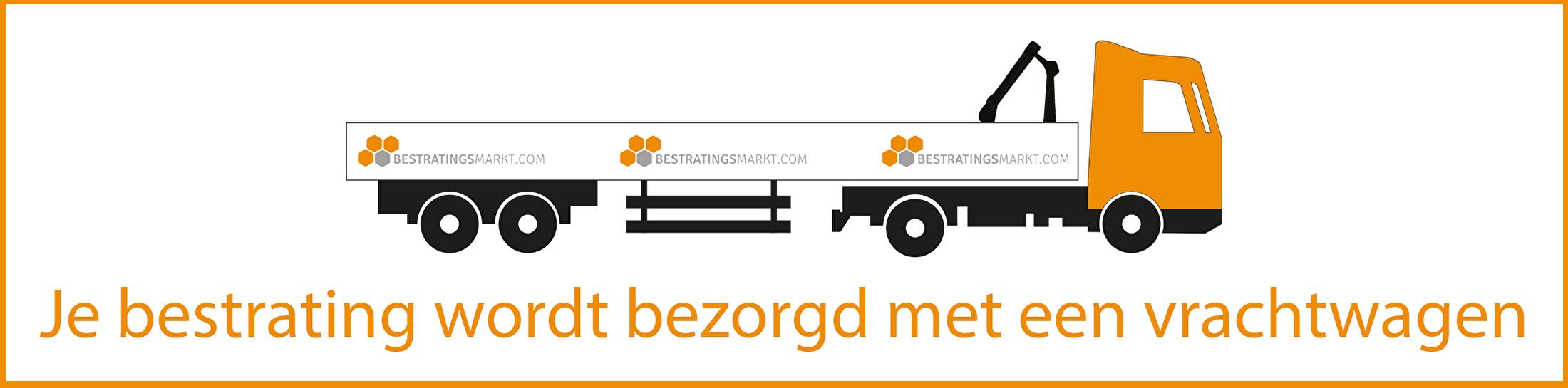 Je bestrating wordt bezorgd met een vrachtwagen