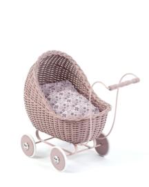 1Smallstuff - Rieten poppenwagen roze