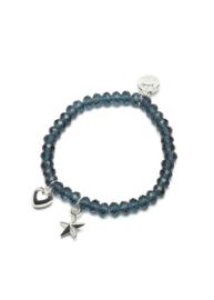 Proud MaMa - Charm armbandje Blauw met hart en ster bedel