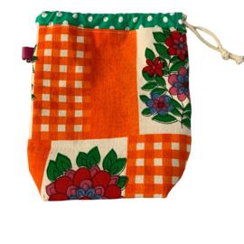 Projectbag S, gevoerd, Vintage oranje met groen